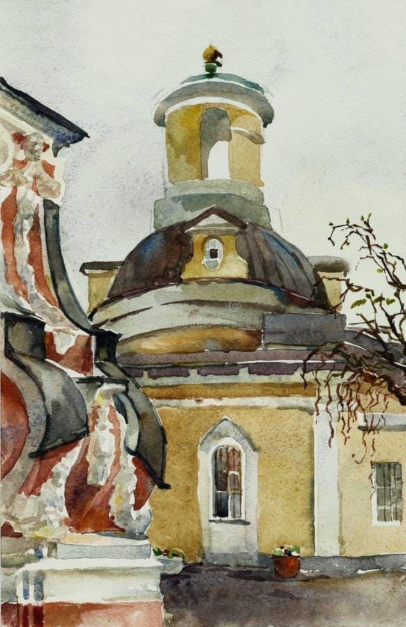 Gammal barockkyrka i Moskvavattenfärgkonst royaltyfri illustrationer