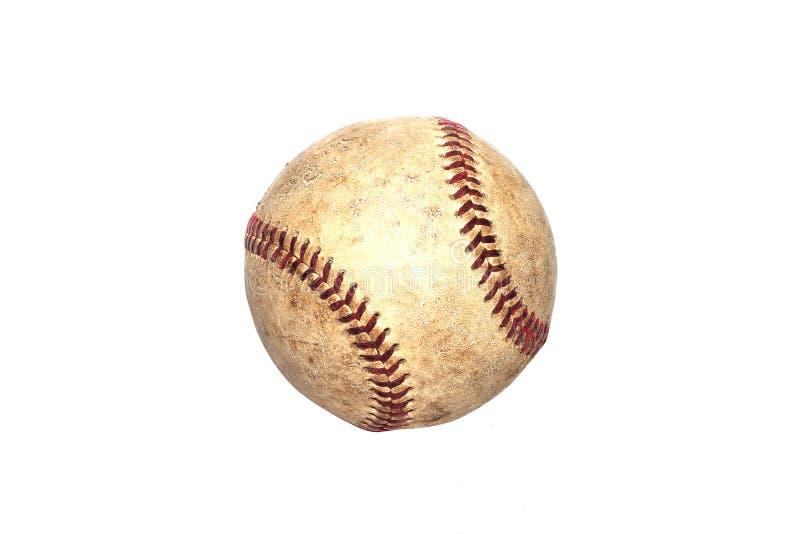 Gammal baseball för tappning som isoleras på en vit bakgrund arkivfoto