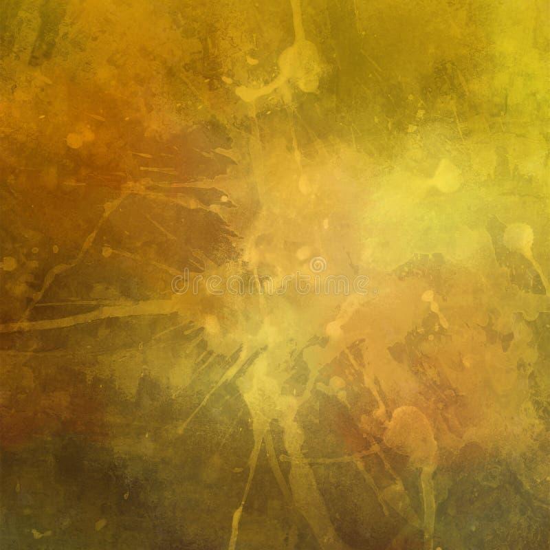 Gammal bekymrad tappningguldbakgrund med målarfärgfläckar stänker droppander och droppar med sprucken grungetextur vektor illustrationer