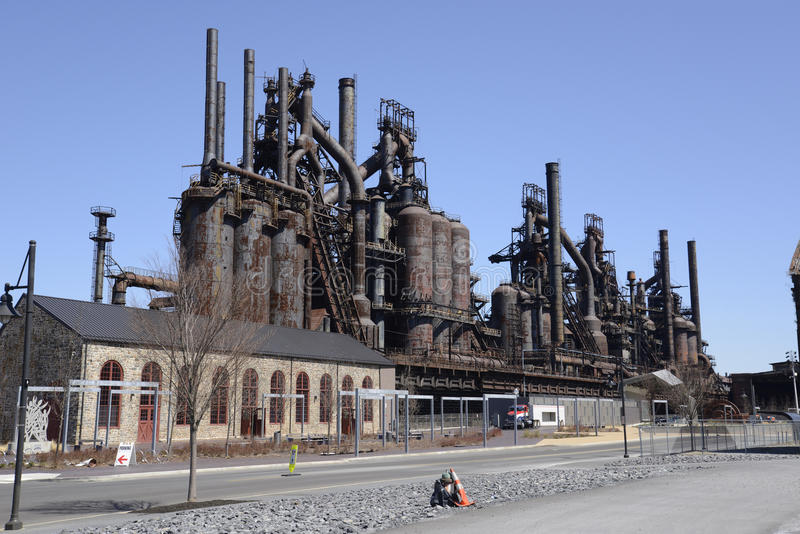 Gammal Bethlehem Steel fabrik i Pennsylvania royaltyfria bilder