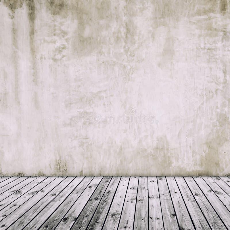Gammal betongvägg med det gamla trägolvet, abstrakt tappningbackgr arkivbild