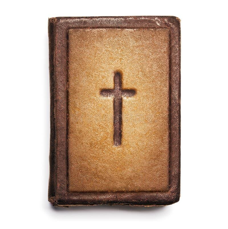 Gammal bibelräkning, tappningläder Front Book Texture med korset, royaltyfria bilder