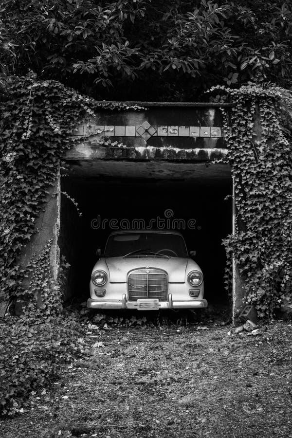 Gammal bil i en bevuxen körbana arkivbild