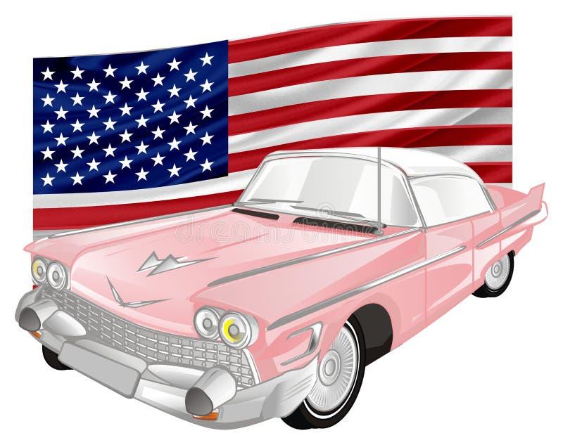 Gammal bil med flaggan stock illustrationer