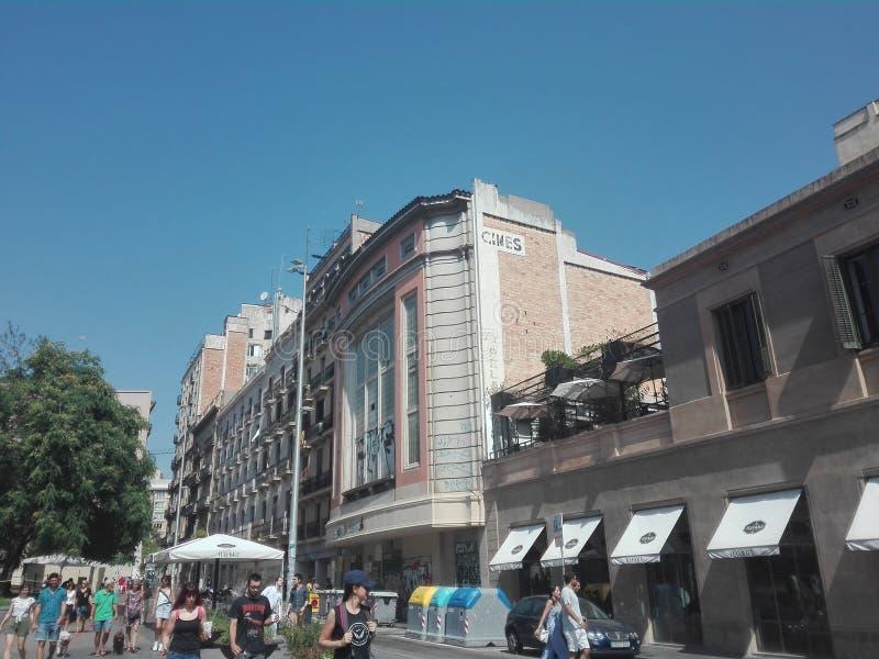Gammal bio i Barcelona arkivfoton