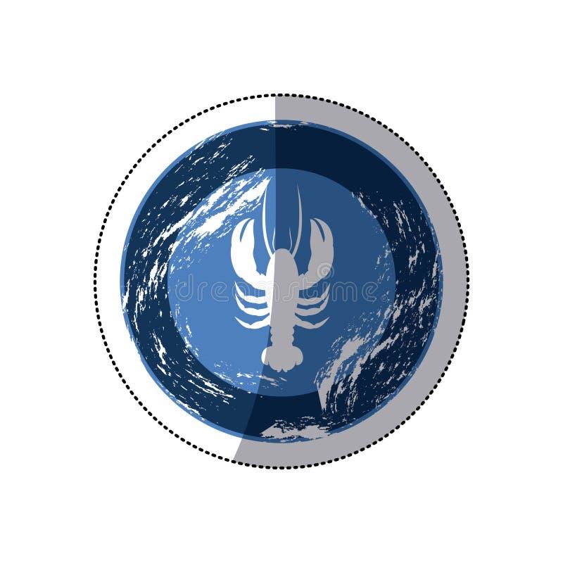 gammal blå rund gräns för klistermärke med konturhumret stock illustrationer