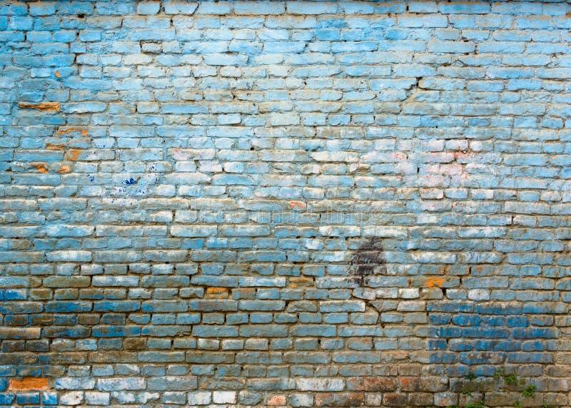 Gammal blå tegelstenvägg royaltyfria bilder