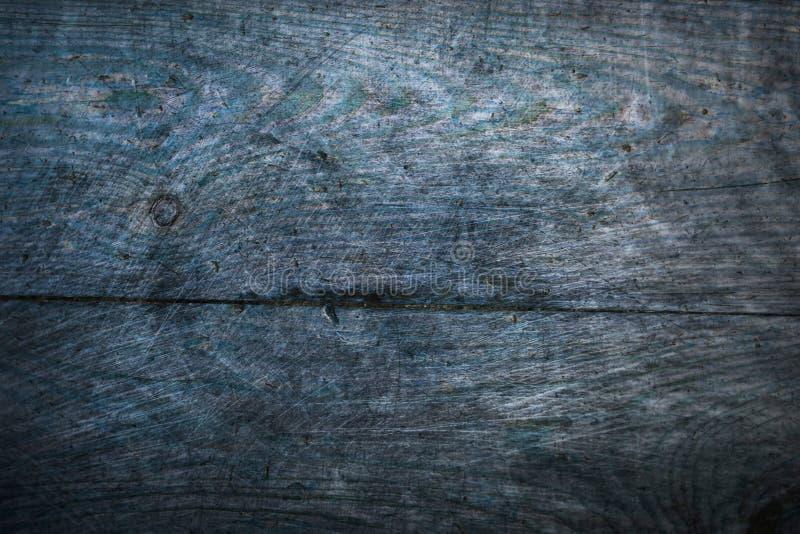 Gammal blå träbakgrund för textur för abstrakt begrepp för yttersida för modell för spricka för grungegolvbräden arkivbild