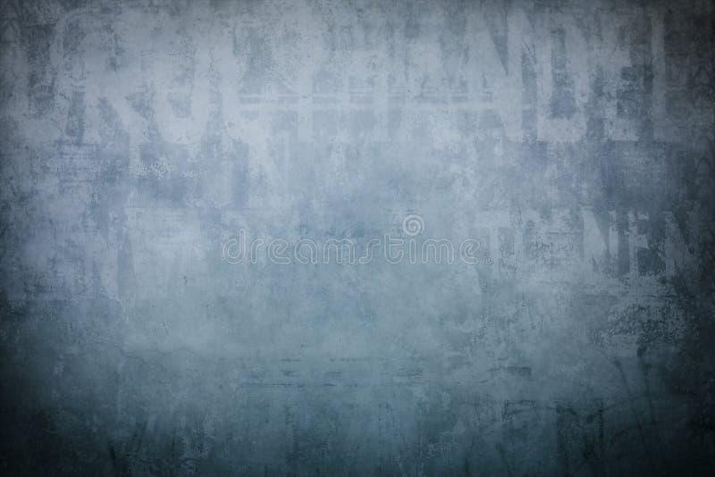 Gammal blå väggbakgrund stock illustrationer