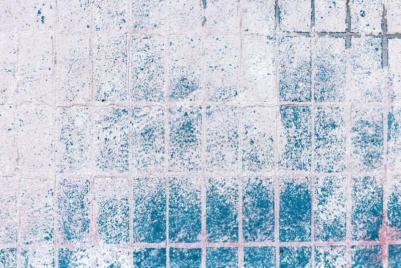 Gammal blåvit tegelplatta på väggen, lantlig bakgrund arkivbild