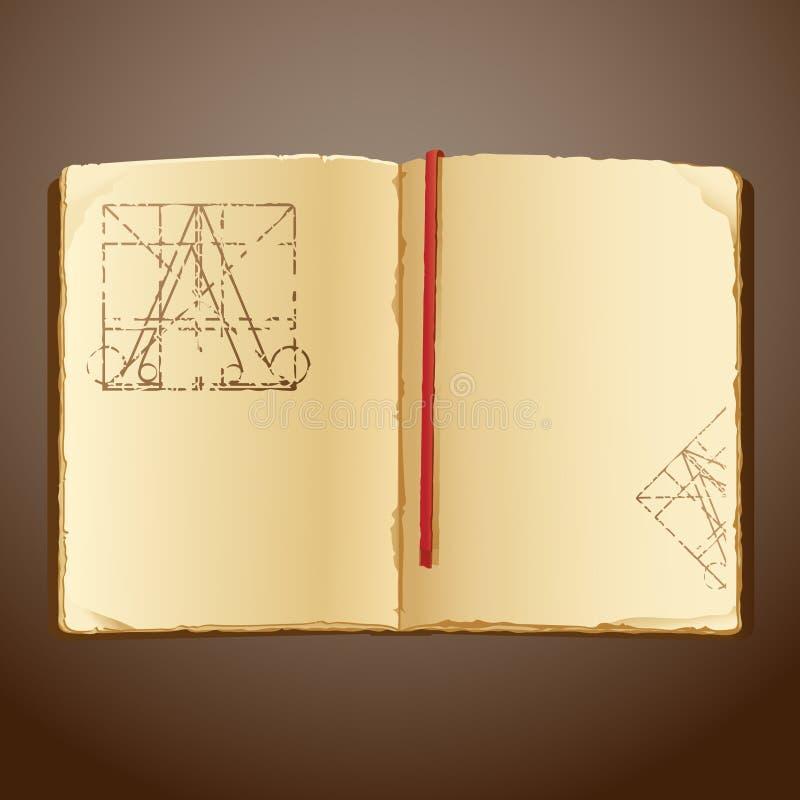 gammal bok stock illustrationer