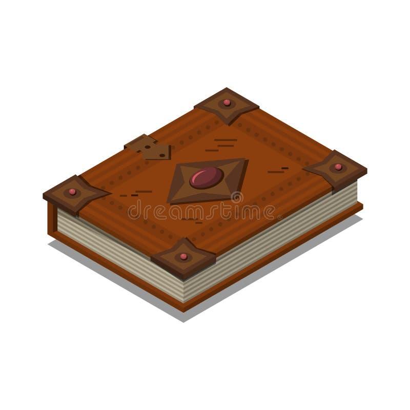 Gammal bok eller orubbligt Isometrisk plan vektor royaltyfri illustrationer