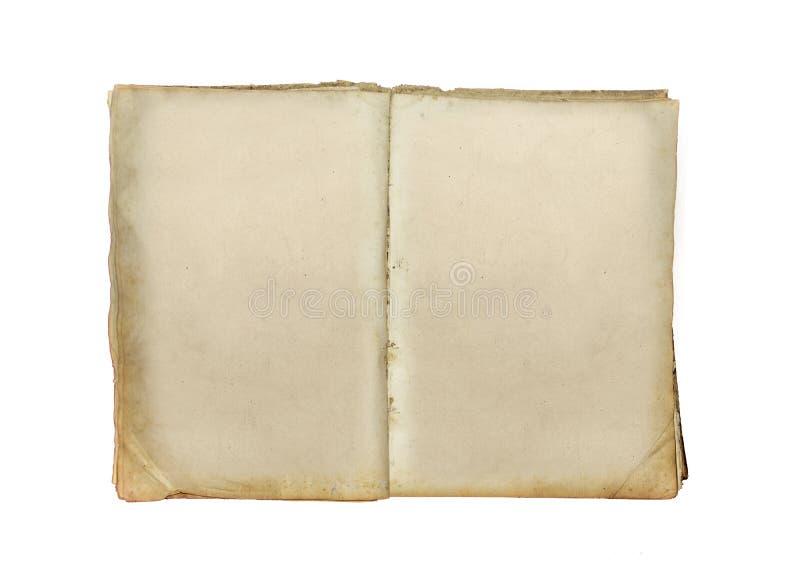 Gammal bok som är öppen på vit bakgrund royaltyfri fotografi