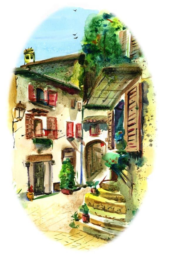 Gammal borggård i sydliga Italien stock illustrationer