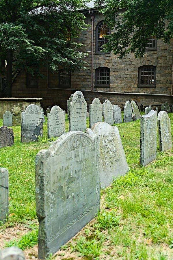 Gammal Boston kyrkogård arkivbild