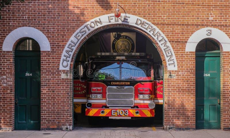 Gammal brandstation i historisk charleston fotografering för bildbyråer