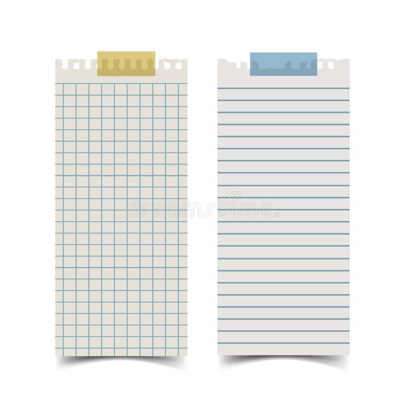 Gammal brevpapper för långt rektangelformmellanrum och för anmärkning något Pappers- baner för vektor royaltyfri illustrationer