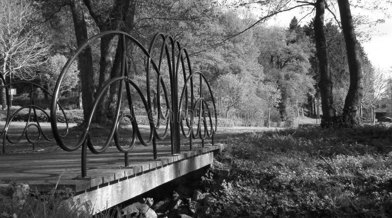 Gammal bro för metall i landskap royaltyfria bilder
