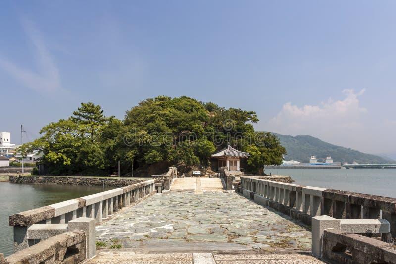 Gammal bro i den Wakayama staden, Japan arkivbilder