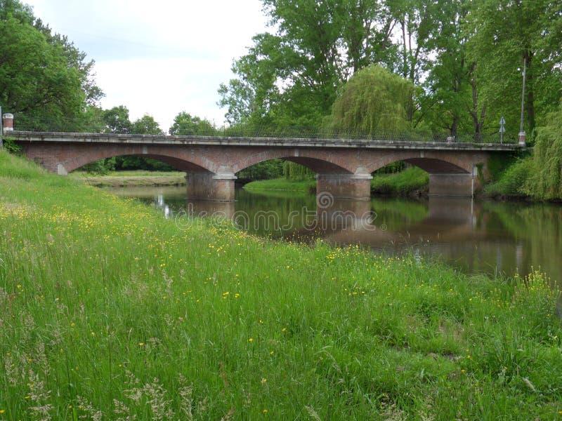 Gammal bro på floden royaltyfri foto