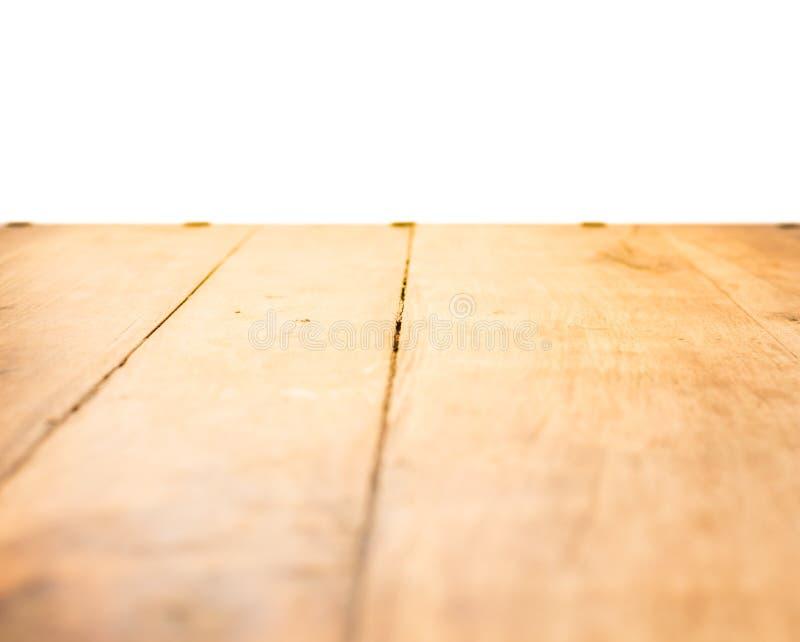 Gammal brun trägolvtextur för tappning med den vita väggen - bakgrund arkivbilder