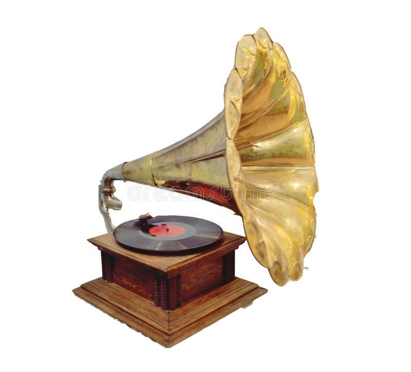Gammal bruten grammofon på vit bakgrund royaltyfria bilder