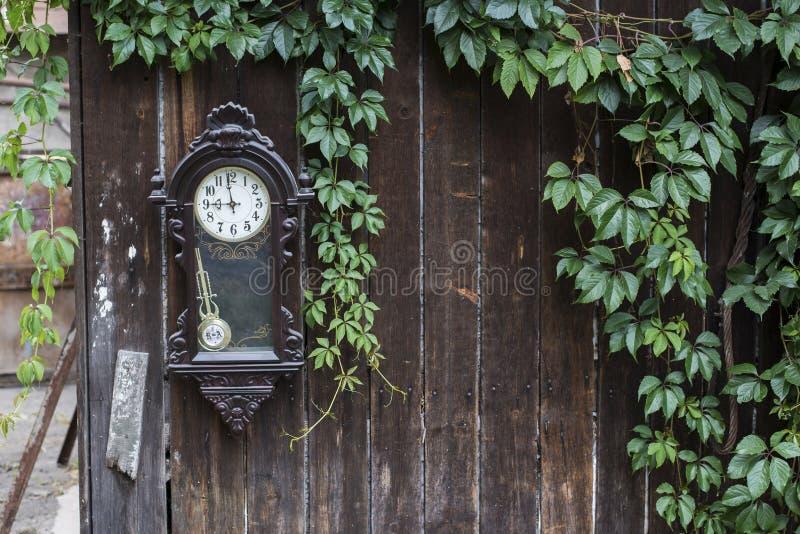 Gammal bruten klocka på den naturliga gröna bladramen på trästaketet arkivfoto