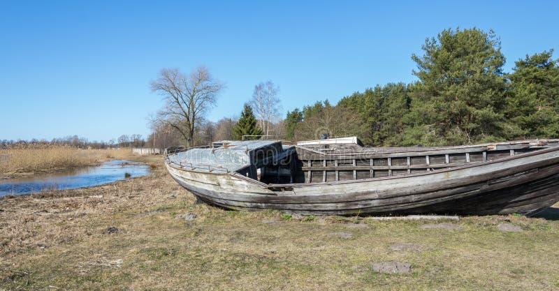 Gammal bruten träfiskebåt på kusten av sjön royaltyfri fotografi