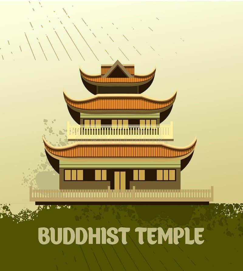 Gammal buddistisk tempel stock illustrationer