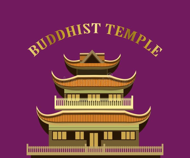 Gammal buddistisk tempel vektor illustrationer