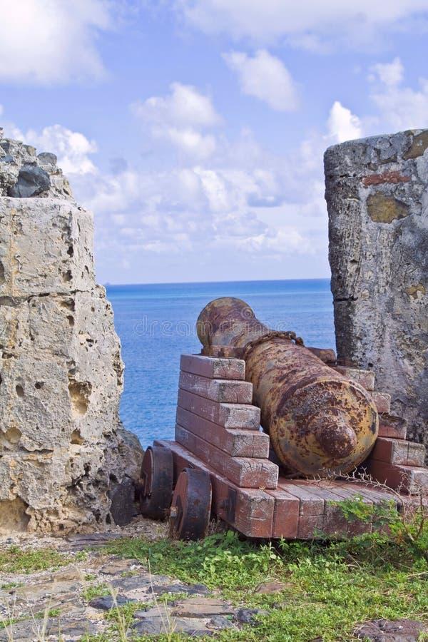 Gammal canon på den tropiska ön för St Maarten royaltyfria bilder