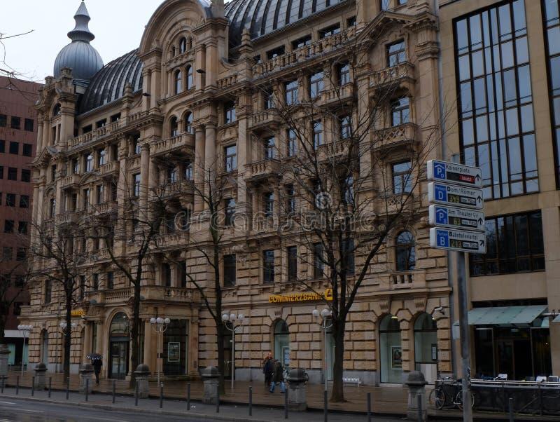Gammal Commerzbank byggnad i Frankfurt arkivfoton