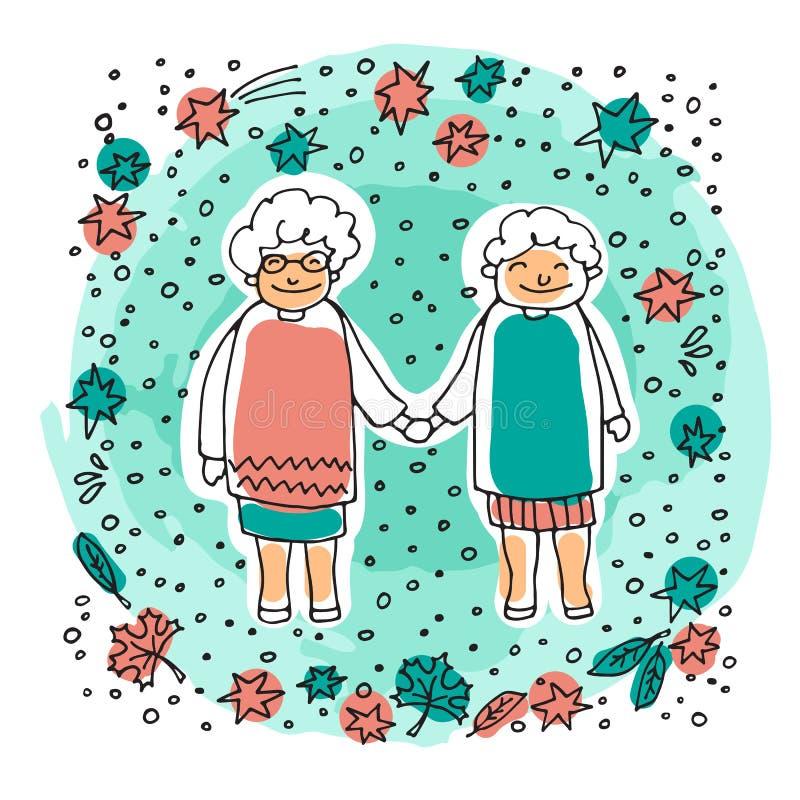 Gammal couple-08 royaltyfri illustrationer