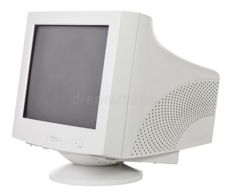 Gammal CRT-datorbildskärm som isoleras på vit royaltyfria foton