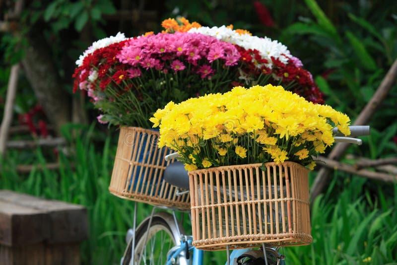 Gammal cykel för tappning med blommabuketten i korg på trädgården ut arkivfoto