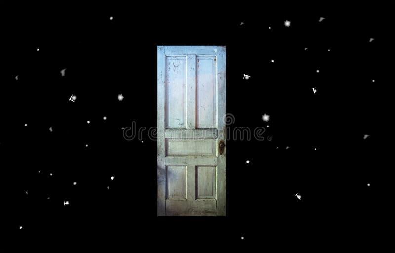 Gammal dörr för skymningzon i utrymme royaltyfri illustrationer
