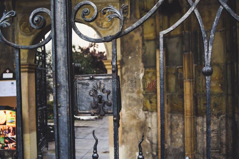Gammal dörr till borggården arkivbild
