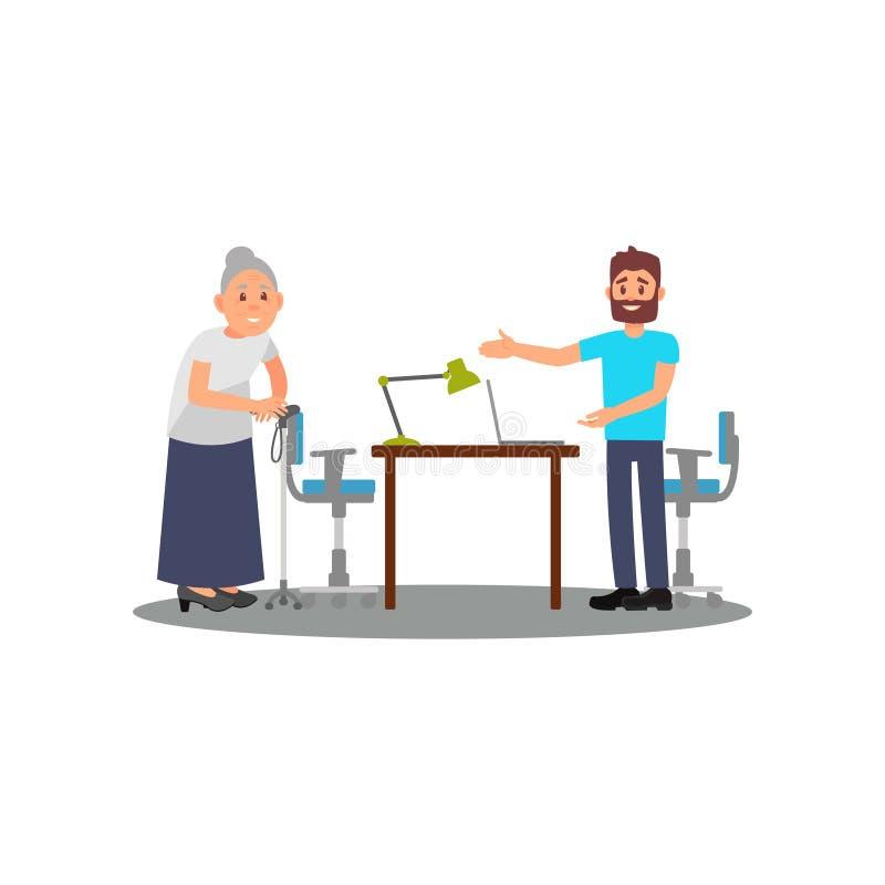 Gammal dam på konsultation i volontärmitt Den vänliga mannen inviterar den äldre kvinnan att sitta på stol Social hjälp plant stock illustrationer