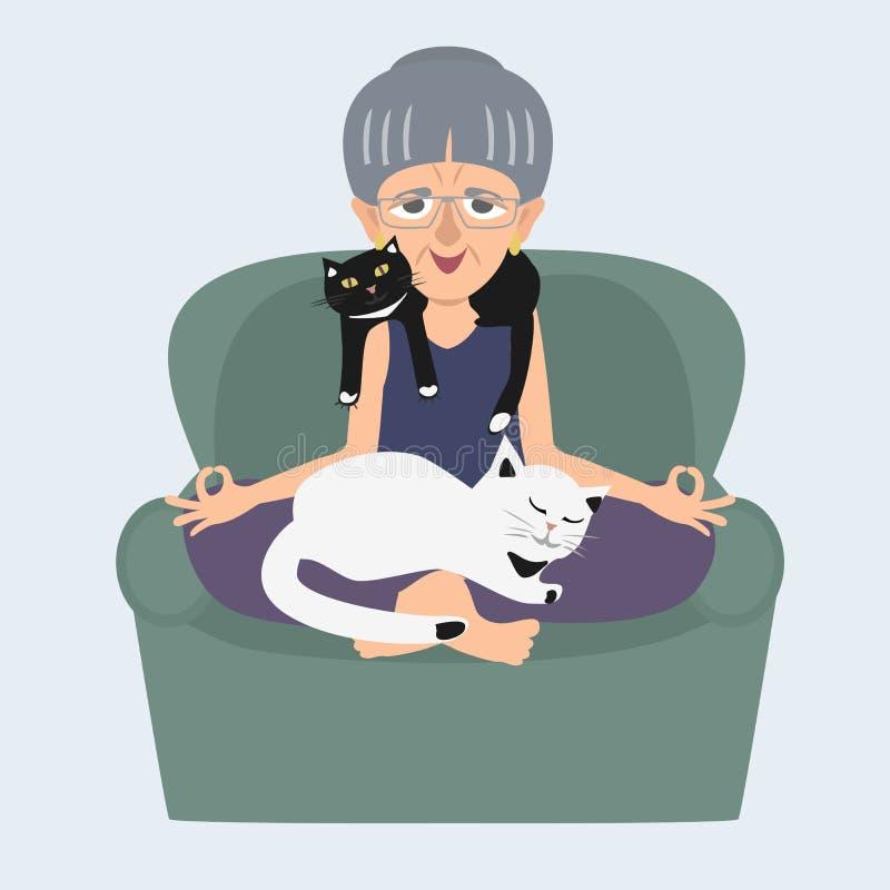 Gammal dam som hemma mediterar med kattvektortecknade filmen royaltyfri illustrationer