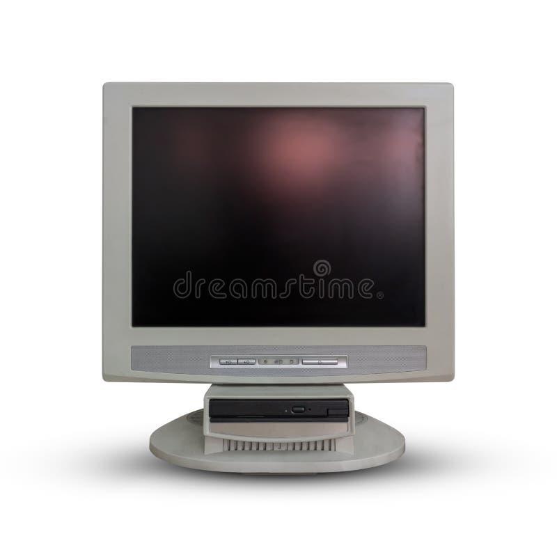 Gammal datorbildskärm på vit arkivbilder