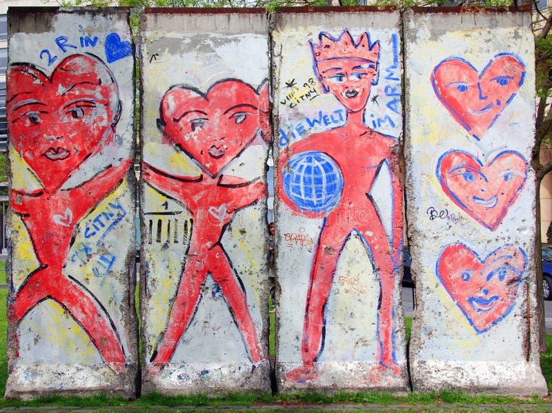Gammal del av Berlin Wall royaltyfria bilder