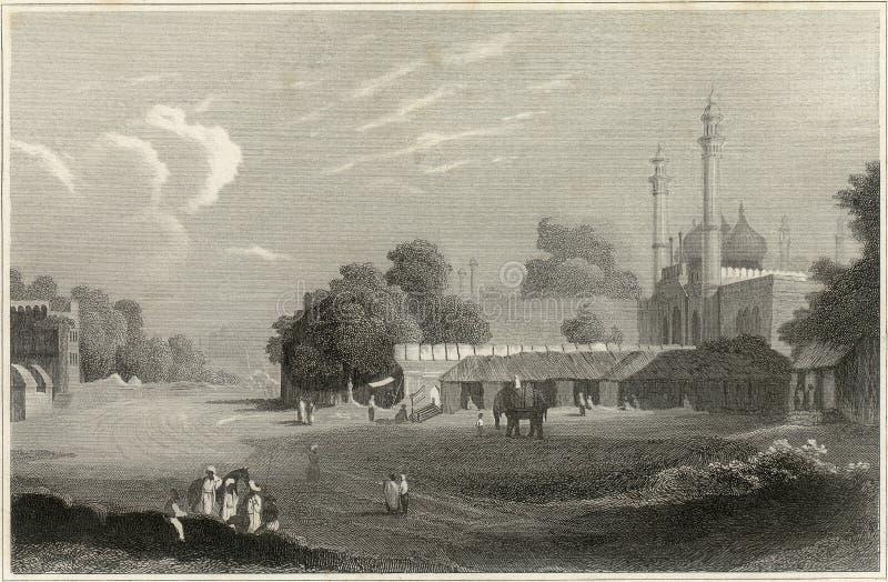 gammal delhi etsning royaltyfri bild