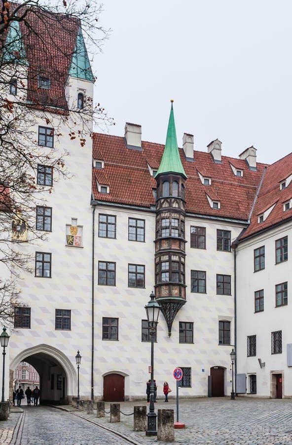 Gammal domstol i Munich, Tyskland Domstolen är den tidigare uppehållet av den Louis droppen, royaltyfria foton