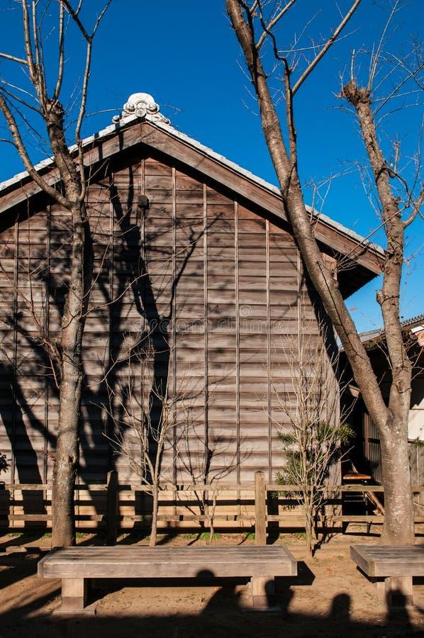 Gammal Edo hus och gata på Boso inget museum Mura för öppen luft, Chiba, arkivbild