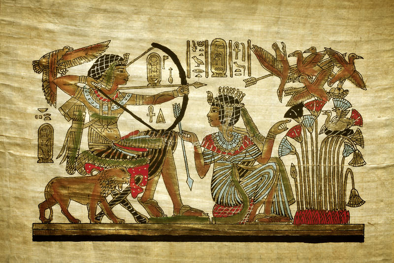 Gammal egyptisk papyrus royaltyfri fotografi