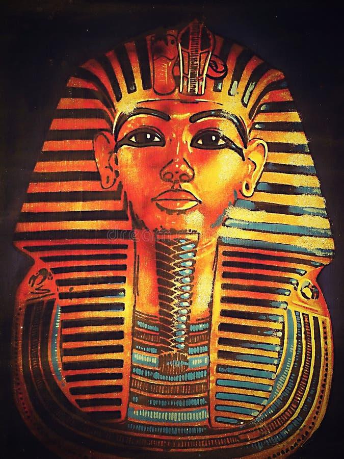 Gammal egyptisk papyrus med farao stock illustrationer