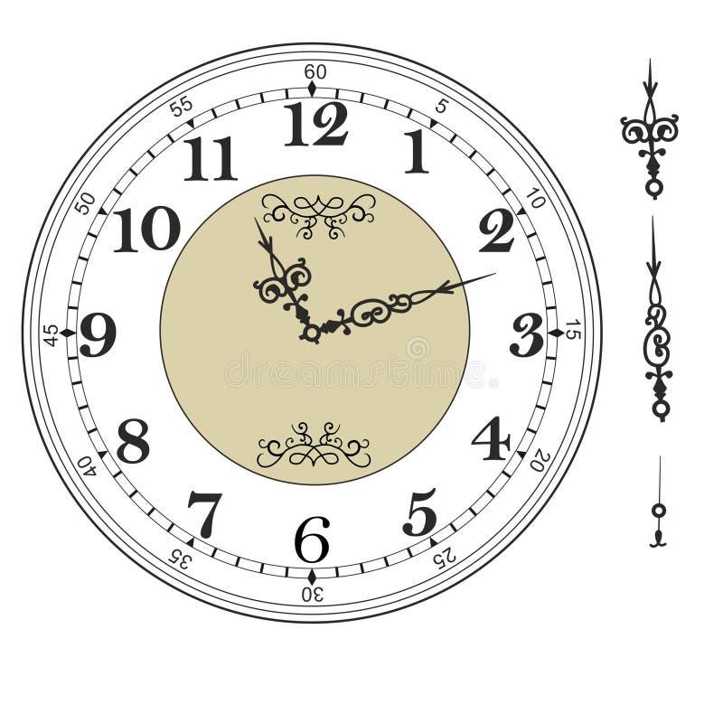 Gammal elegant mall för klockaframsida med tal och pilar royaltyfri illustrationer