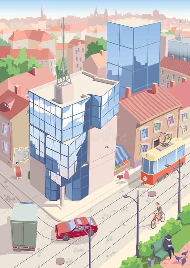 Gammal europeisk stad stock illustrationer