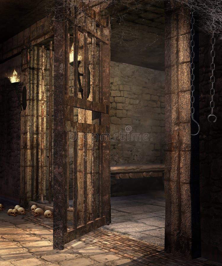 Gammal fängelsehåla med skallar stock illustrationer
