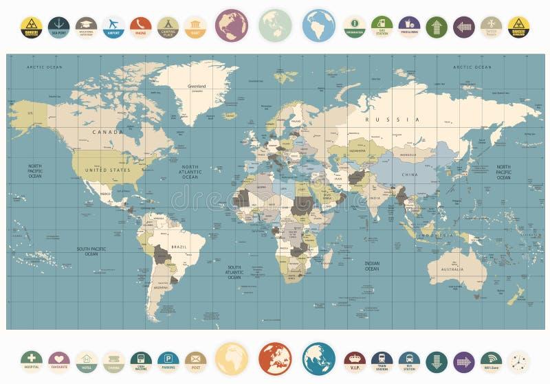 Gammal färgillustration för världskarta med den rundalägenhetsymboler och geggan vektor illustrationer
